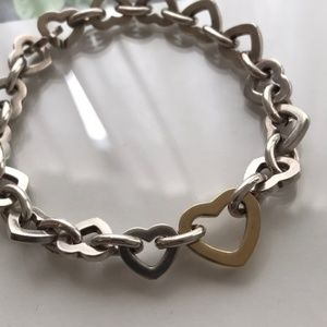 Jewelry - Two Tone Heart Bracelet sterling silver